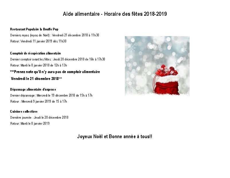Aide alimentaire - Horaire des fêtes 2018 (Auteur : Angélika)