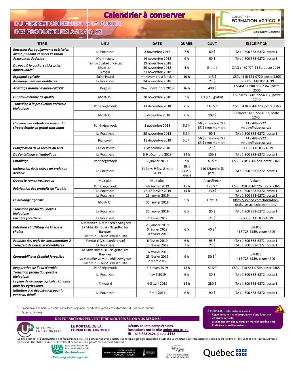 Formation agricole BSL - Calendrier 3 novembre 2017 au 7 mai 2018 (Auteur : Angélika)