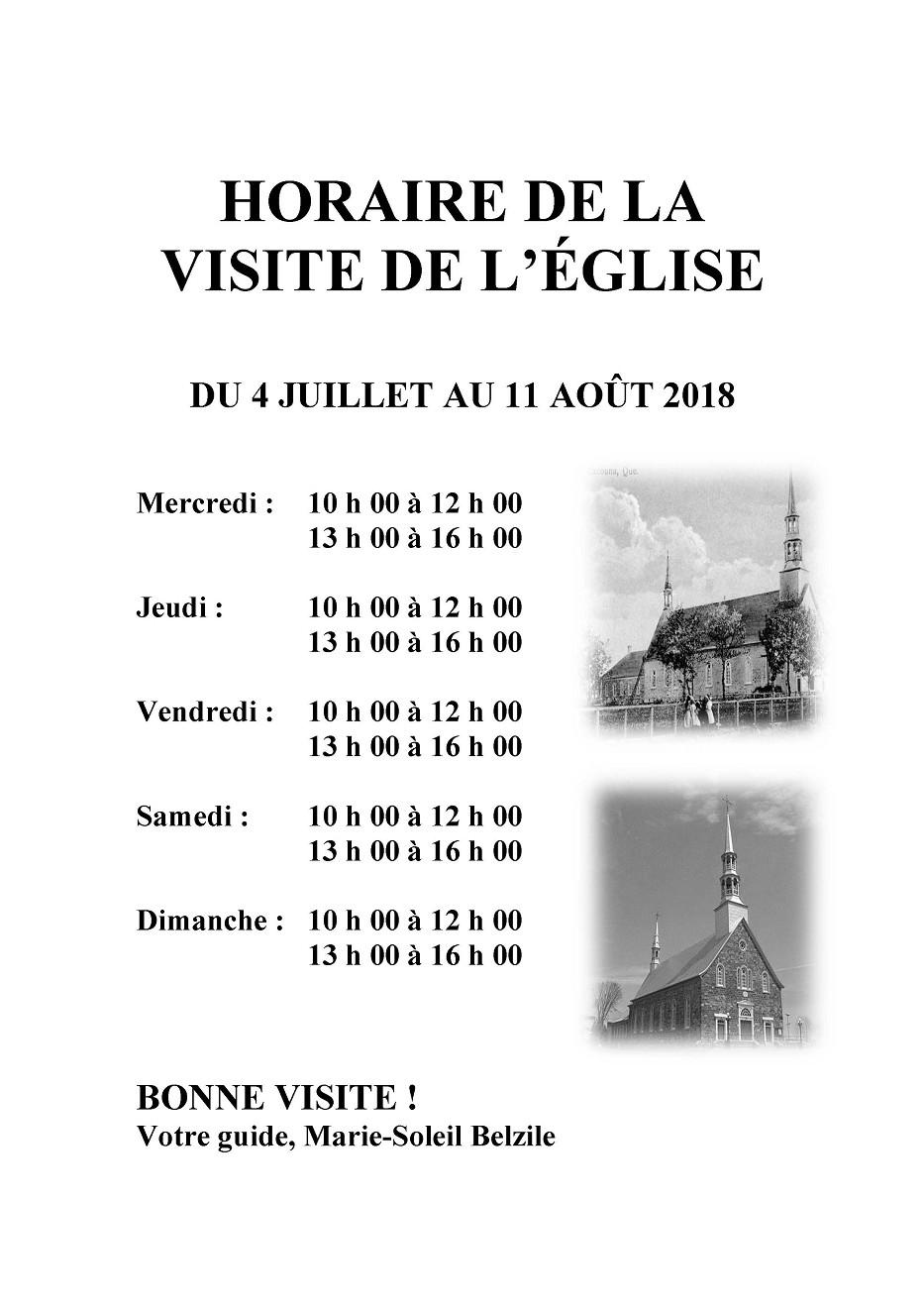 HORAIRE DE LA VISITE DE L'ÉGLISE 2018 (Auteur : Angélika)