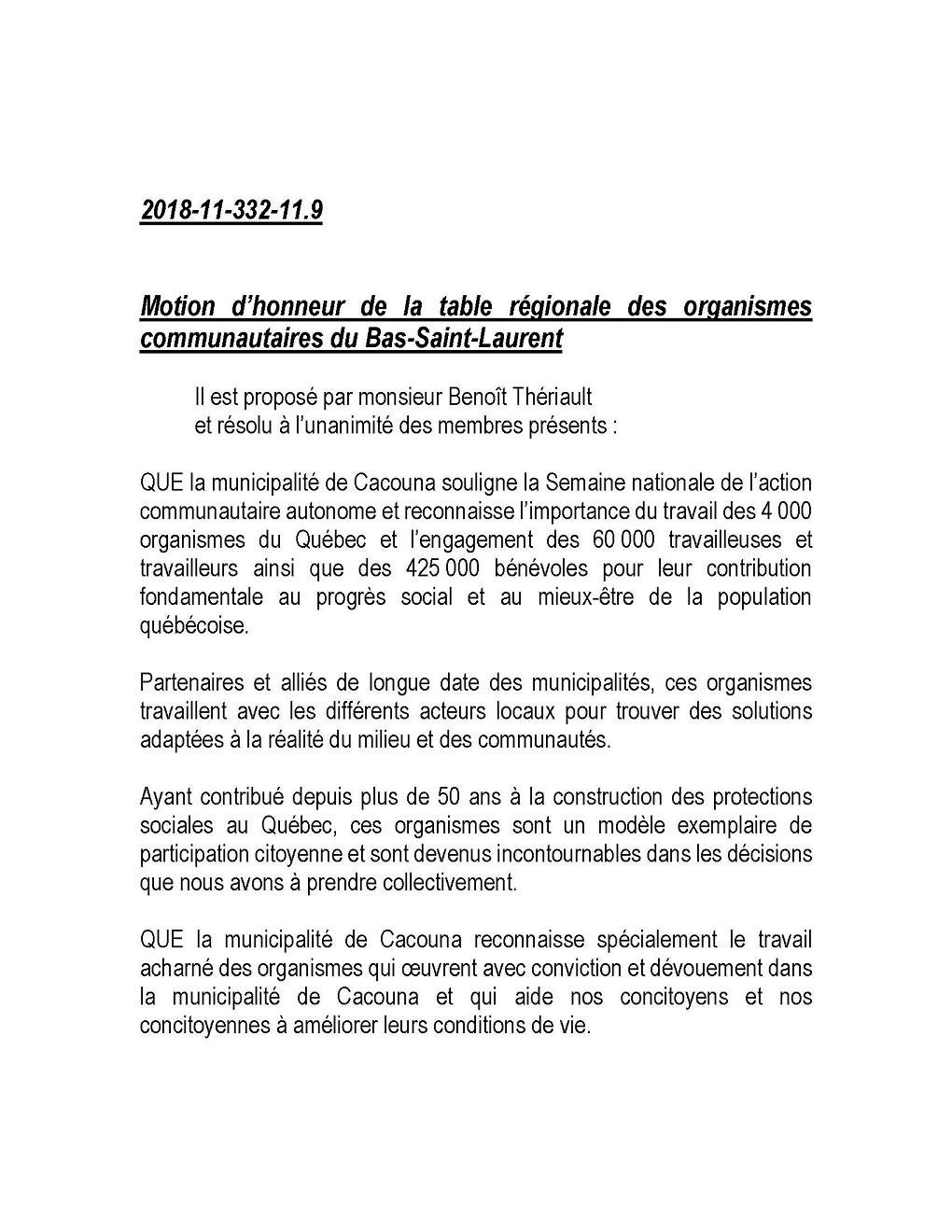 Motion d'honneur de la table régionale des organismes communautaires du Bas Saint Laurent (Auteur : Angélika)