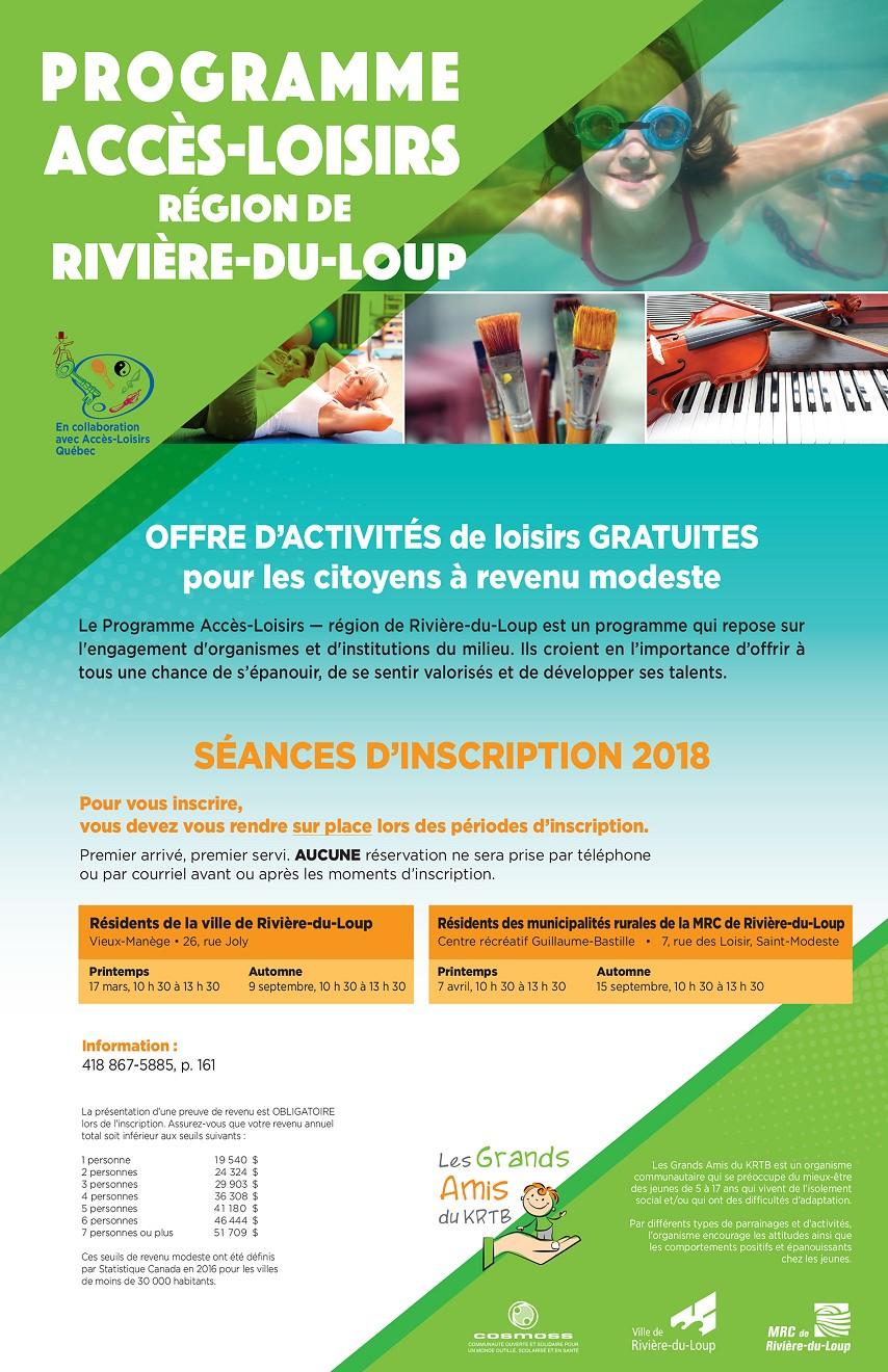 Programme Accès-Loisirs - Région de Rivière-du-Loup (Auteur : Angélika)