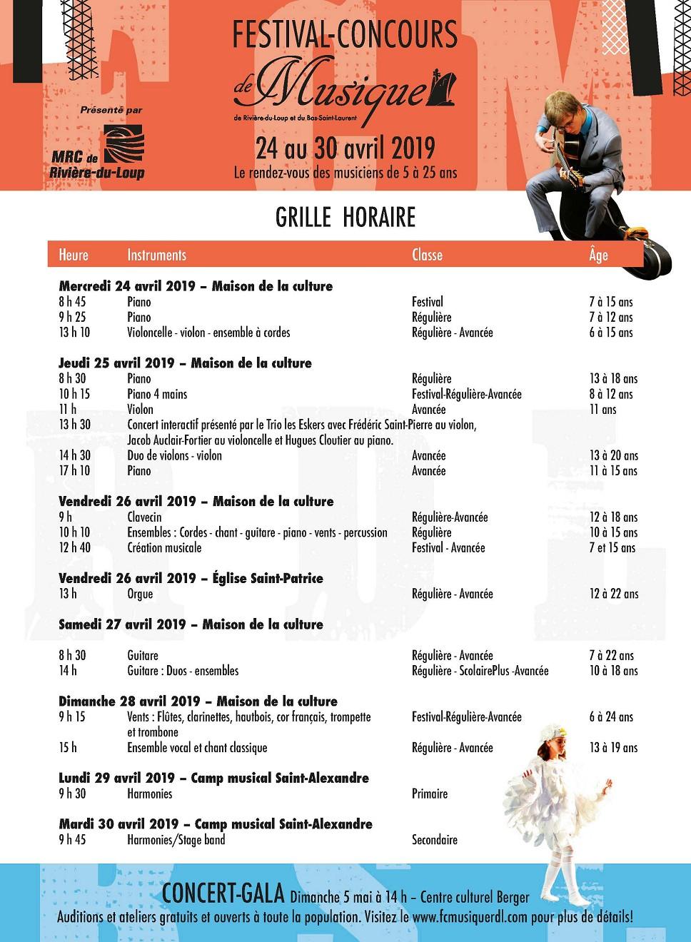 FESTIVAL DE MUSIQUE RDL - GRILLE HORAIRE 2019 (Auteur : Angélika)