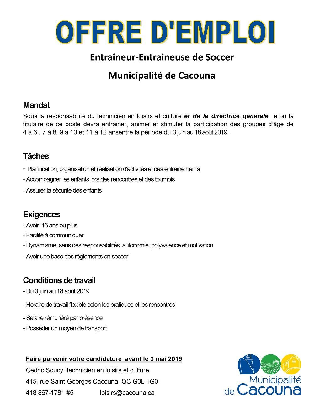 Offre d'emploi Soccer 2019 (Auteur : Angélika)
