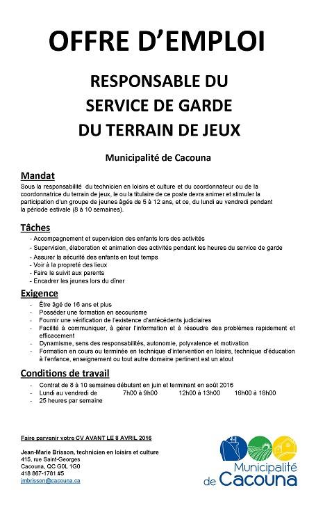Offre d'emploi responsable du service de garde du terrain de jeux 2016 (Auteur : Jean-Marie Brisson)