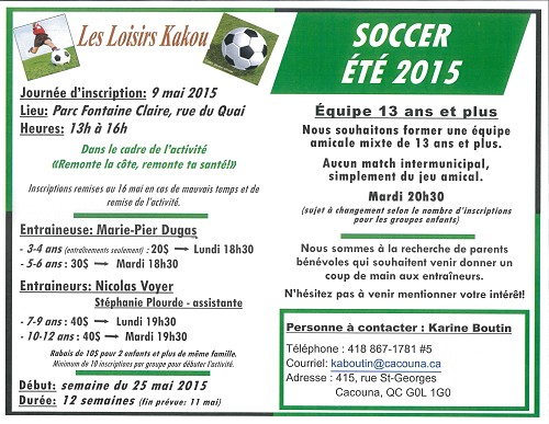 Inscription soccer 2015 (Photo : © Karine Boutin)